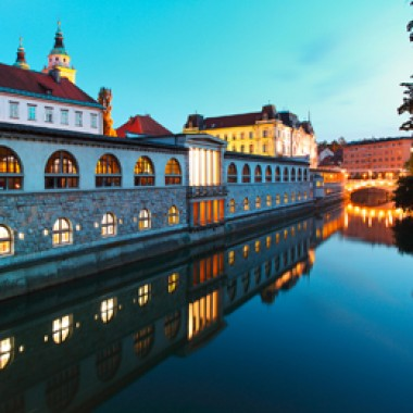 Ljubljana, Slovenia - Ljubljanica River and Central Market